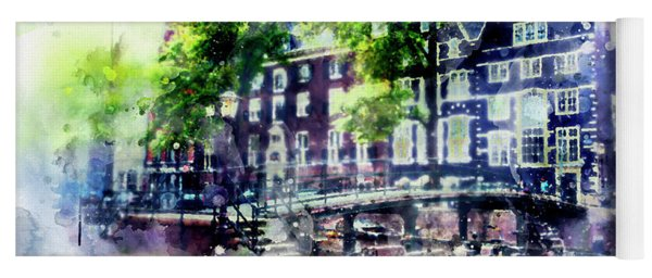 city life in watercolor style - Old Amsterdam  Yoga Mat