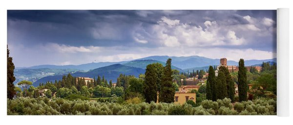 Tuscan Landscape With Roses And Mountains In Florence, Italy Yoga Mat