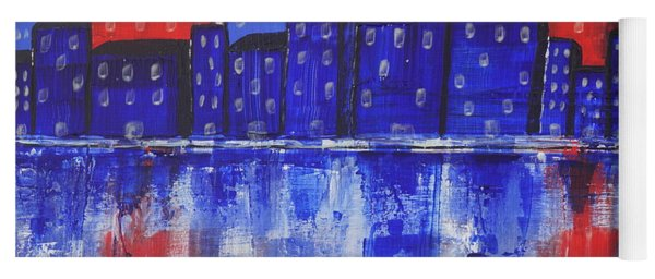 Yoga Mat featuring the painting City Scape_abstract by Jimmy Clark