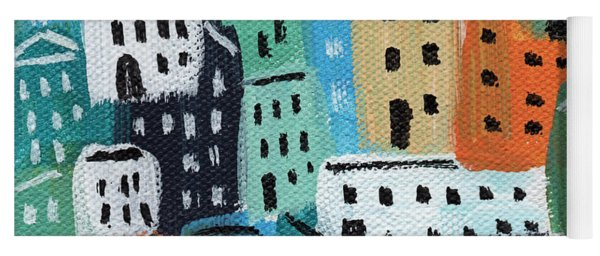 City Stories- Blue And Orange Yoga Mat