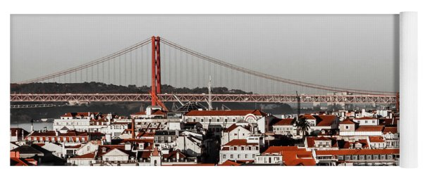 Lisbon In Black, White And Red Yoga Mat