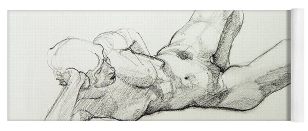 Classic Life Drawing Of A Young, Relaxed Female Nude Listening Yoga Mat