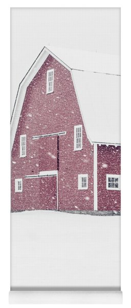 Classic Red New England Barn During A Snowstorm Yoga Mat
