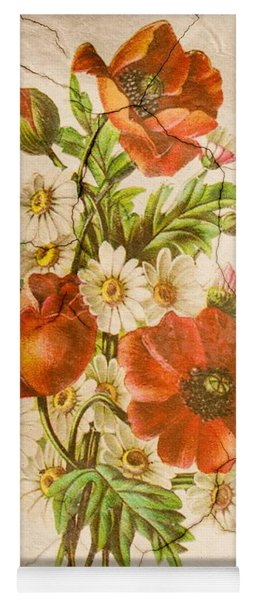 Classic Vintage Shabby Chic Rustic Poppy Bouquet Yoga Mat