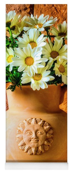 Clay Pitcher With Daises Yoga Mat