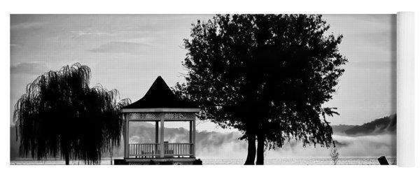 Claytor Lake Gazebo - Black And White Yoga Mat