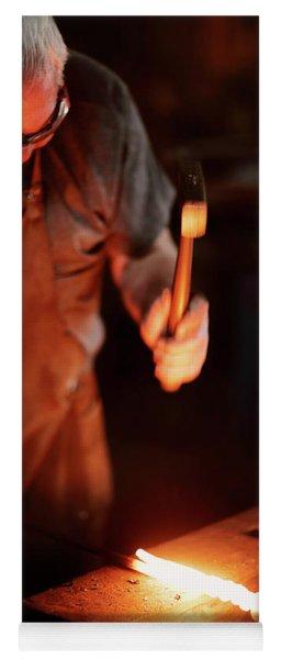 Close-up Of  Blacksmith Forging Hot Iron Yoga Mat