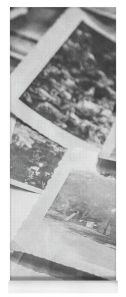 Close Up On Old Black And White Photographs Yoga Mat
