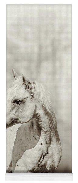 Close Up Portrait Of Lone White Horse Yoga Mat