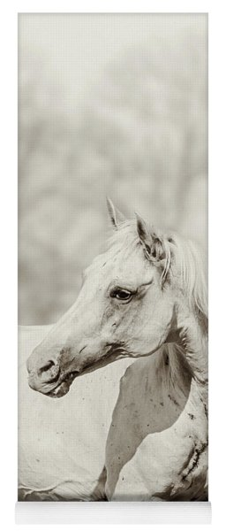 Close Up Portrait Of Lone White Horse Yoga Mat
