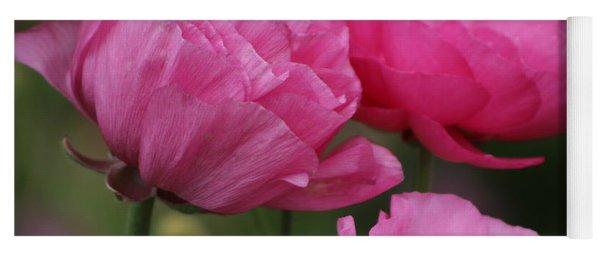 Closeup Deep Peony Pink Ranunculus Yoga Mat