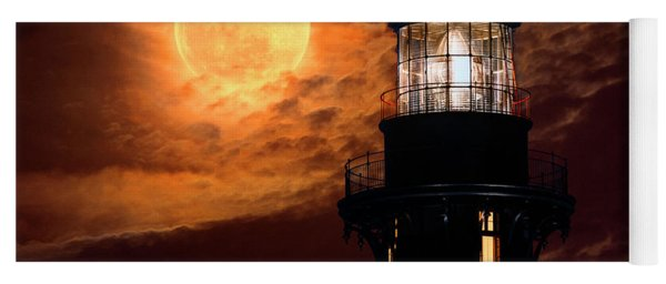 Closeup Of Full Moon Rising Over St Augustine Lighthouse Yoga Mat