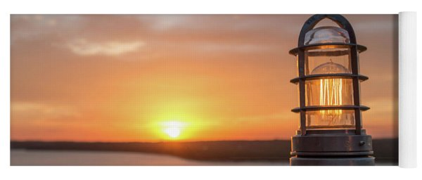 Closeup Of Light With Sunset In The Background Yoga Mat