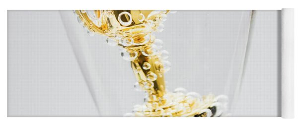 Closeup Of Small Trophy In Champagne Flute. Gold Colored Award I Yoga Mat