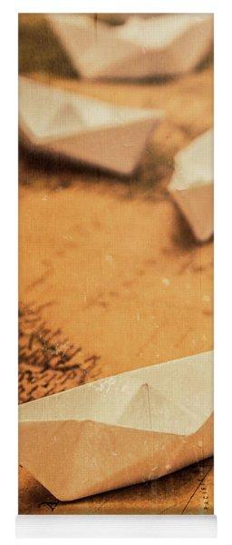 Closeup Toned Image Of Paper Boats On World Map Yoga Mat