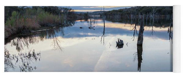 Clouds Reflecting On Large Lake During Sunset Yoga Mat