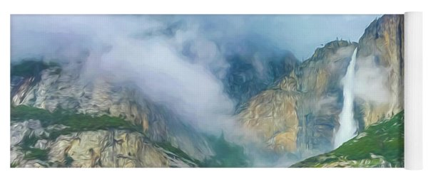 Cloudy Day At Yosemite Falls Digital Watercolor Yoga Mat