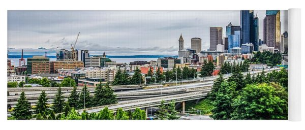 Yoga Mat featuring the photograph Cloudy Day Over Seattle Washington by Alex Grichenko