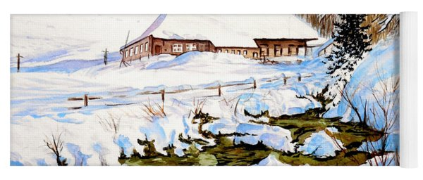 Yoga Mat featuring the painting Clubhouse In Winter by Sher Nasser