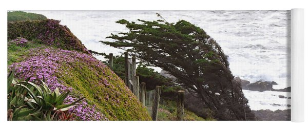Coastal Windblown Trees Yoga Mat