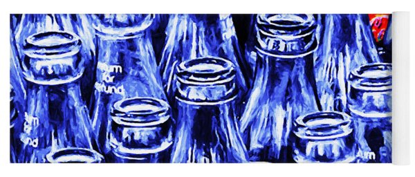 Coca-cola Coke Bottles - Return For Refund - Square - Painterly - Blue Yoga Mat