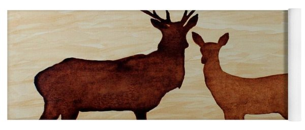 Coffee Painting Deer Love Yoga Mat