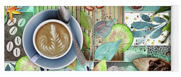 Coffee Shop Collage Yoga Mat