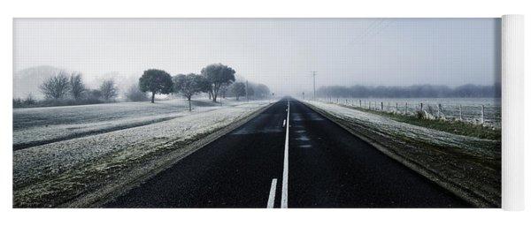 Cold Blue Winter Road Yoga Mat