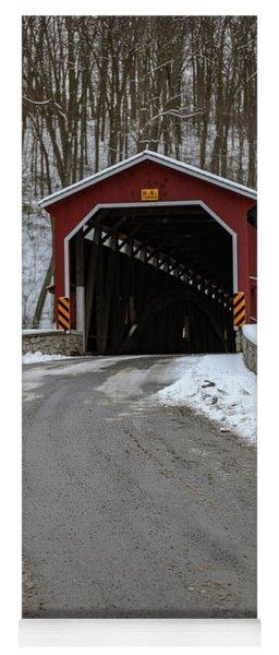 Colemansville Covered Bridge After Winter Snow Yoga Mat