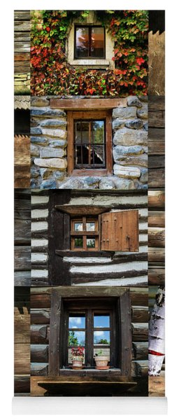 Collage From Handmade Traditional Wooden  Windows In Village Museum Bucharest Yoga Mat