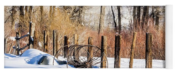 Yoga Mat featuring the photograph Colorado Winter Snow Scene With Old Farming Rake And Rustic Fence by Nadja Rider