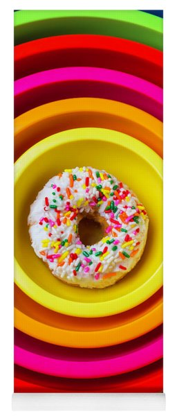 Colored Bowls And Donut Yoga Mat