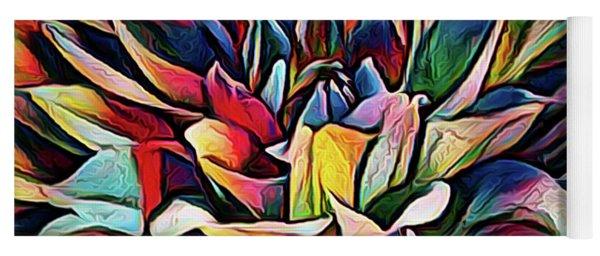 Colorful Abstract Dahlia Yoga Mat
