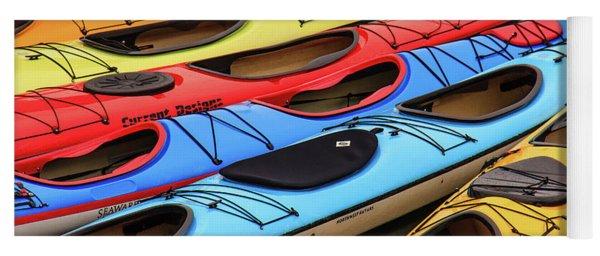 Colorful Alaska Kayaks Yoga Mat