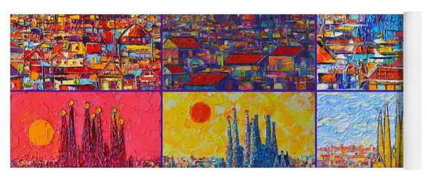 Colorful Barcelona Sagrada Familia Modern Impressionist Knife Abstract Cities By Ana Maria Edulescu Yoga Mat