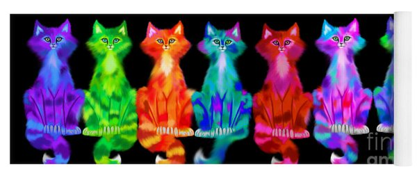 Colorful Calico Cats Yoga Mat