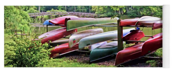 Colorful Canoes At Hungry Mother State Park Yoga Mat