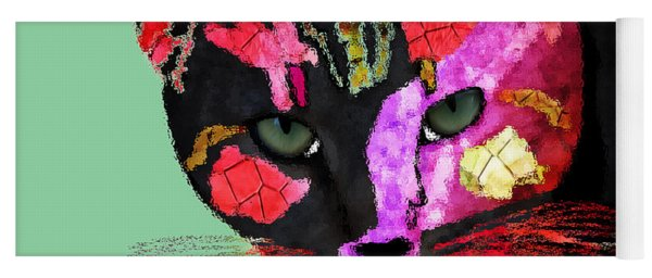 Colorful Cat Abstract Artwork By Claudia Ellis Yoga Mat