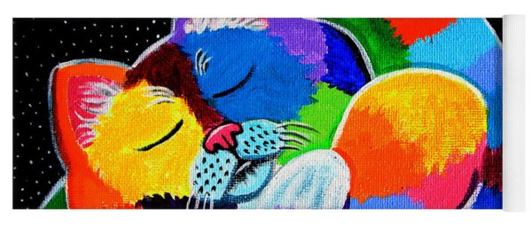 Colorful Cat In The Moonlight Yoga Mat