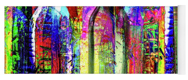 Colorful Glass Bottles Collage Yoga Mat