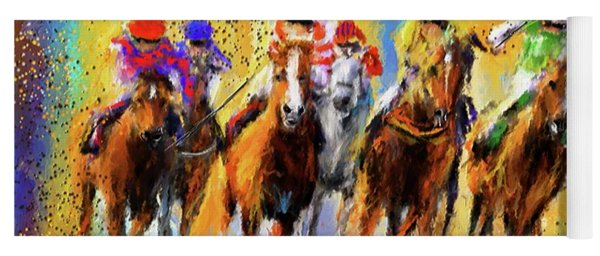 Colorful Horse Racing Impressionist Paintings Yoga Mat