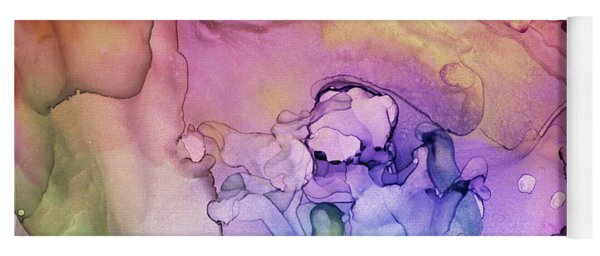 Colorful Ink Swirls With Gold Marble Yoga Mat