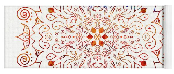 Colorful Mandala On Watercolor Paper Yoga Mat