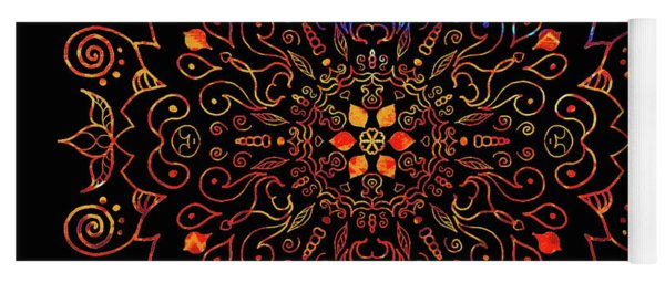 Colorful Mandala With Black Yoga Mat