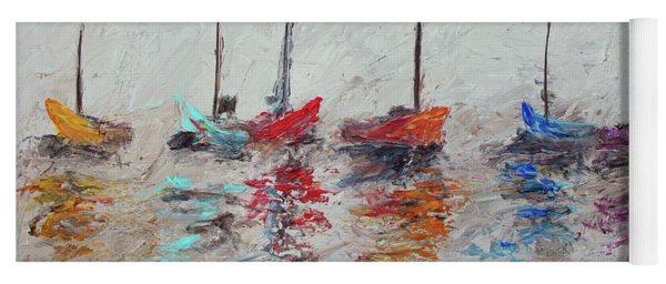 Colorful Modern Impressionistic Sailboat Painting 3 Yoga Mat