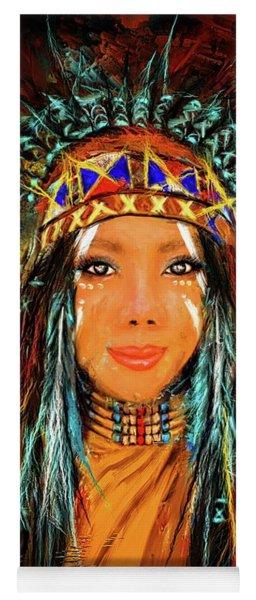 Colorful Native American Woman Yoga Mat