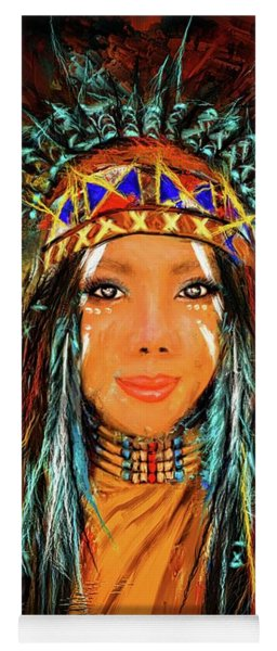 Colorful Native American Woman Yoga Mat