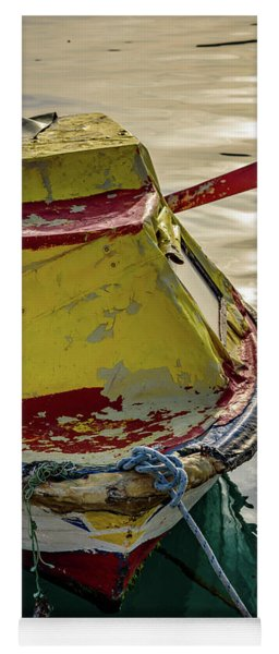 Colorful Old Red And Yellow Boat During Golden Hour In Croatia Yoga Mat