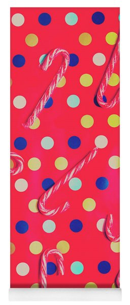 Colorful Pepermint Candy Canes Yoga Mat