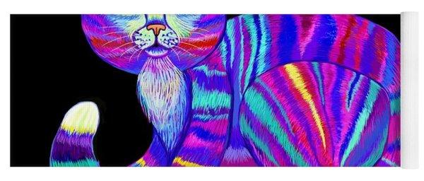 Colorful Rainbow Kitty Yoga Mat